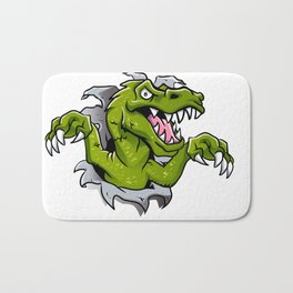 cartoon dinosaur ripping through a wall Bath Mat