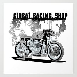 Concept demonstrating the construction of a sports bike. Art Print