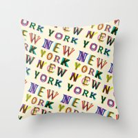 new york Throw Pillows featuring New York New York by Fimbis