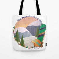 snowboard Tote Bags featuring Moutains Are Calling - Snowboard by Megs Higgins