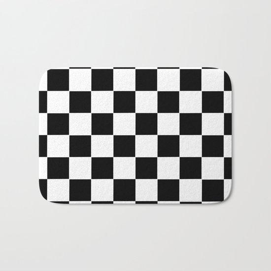 Checker Cross Squares Black & White Bath Mat