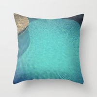 aqua Throw Pillows featuring Aqua by Cassia Beck