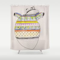 sweater Shower Curtains featuring Heart-sweater by Adele Manuti