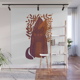 Cat and foliage - autumn palette Wall Mural