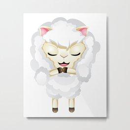 Cute Chibi Sheep Metal Print