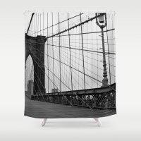 brooklyn bridge Shower Curtains featuring Brooklyn Bridge by C.Rhodes Design