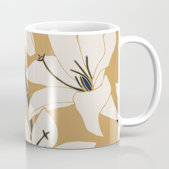 Amaryllis Floral Line Drawing, Beige and Navy on Yellow Ochre Coffee Mug