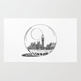 London city in a glass ball . Home Decor, Art prints Rug