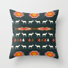 Ethnic deer pattern with Christmas trees Throw Pillow