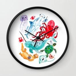 Ocean Creatures - Sea Animals Characters - Watercolor Wall Clock
