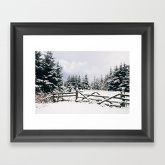 Gate and trees covered in heavy snow. Matterdale End, Cumbria, UK. Framed Art Print