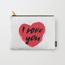 I love you. I heart you. Valentines day greeting card with calligraphy. Carry-All Pouch