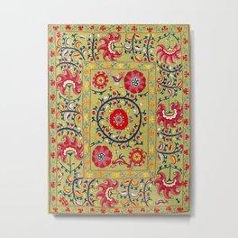 Lakai Suzani Uzbekistan Floral Embroidery Print Metal Print