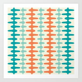 Retro Mid Century Modern Trellis Print Orange and Teal Art Print
