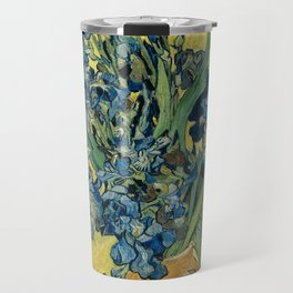 Still Life: Vase with Irises Against a Yellow Background Travel Mug