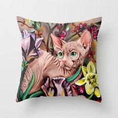 Sphynx cat in flower garden Throw Pillow