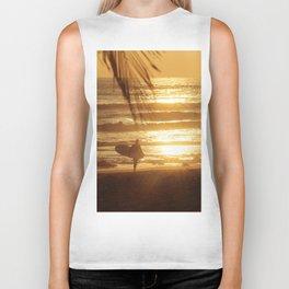 Golden Beach with Surfer (Color) Biker Tank