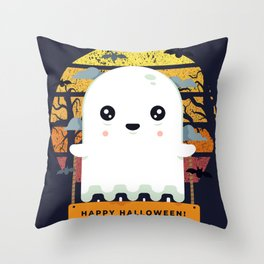 Spooky Boo Ghost Scene Halloween | Funny & Great Gift Throw Pillow