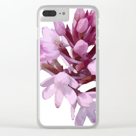 Pink Orchid Wildflower Clear iPhone Case