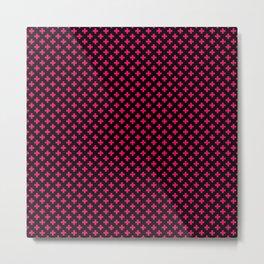 Small Hot Neon Pink Crosses on Black Metal Print