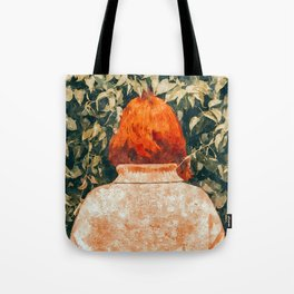 Surprise Visit, Quirky Whimsical Painting, Fashion Travel Red Head Ginger Woman Illustration Tote Bag
