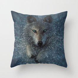 Wolf Splash Throw Pillow