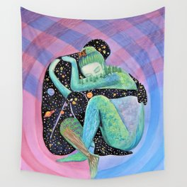 Space Earth Love Painting Nature Soul Mates Couple Wedding Art Tapestry (Infinite Love) Wall Tapestry