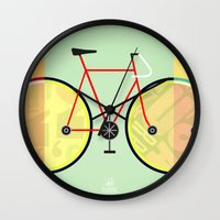 bikes Wall Clocks featuring Bikes by KateWadsworth