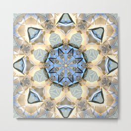 Blue And Gold Mandala Metal Print