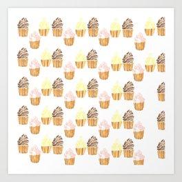 Minimalist Cupcake Trio Art Print