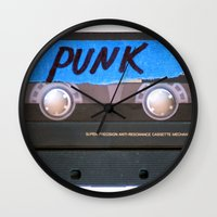 punk Wall Clocks featuring PUNK by The Family Art Project