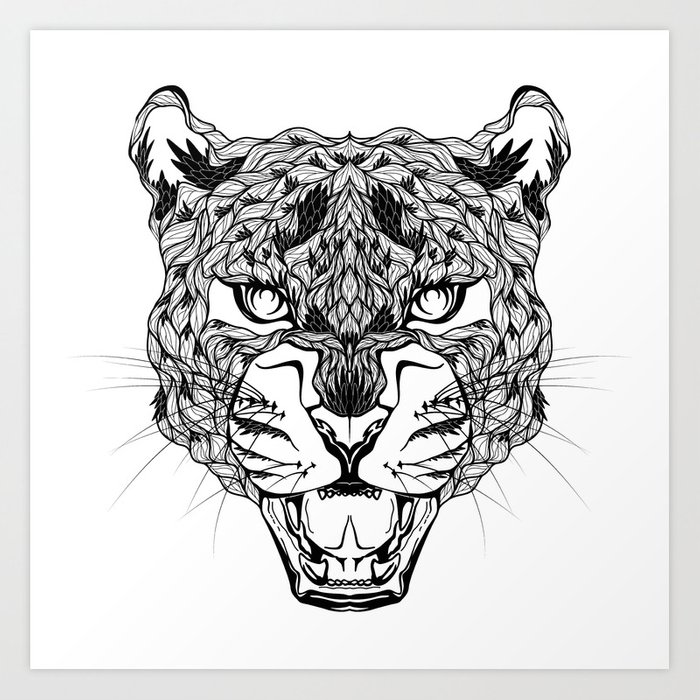 Leopard Head Psychedelic Zentangle Style Art Print By