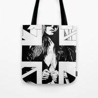 fault Tote Bags featuring FAULT by Kelsey Crenshaw