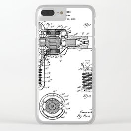 Hair Drier Patent - Salon Art - Black And White Clear iPhone Case