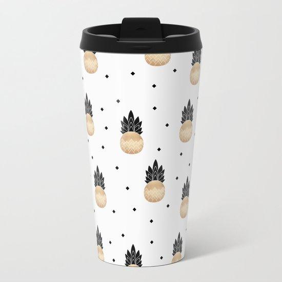 Golden Pineapple Pattern Metal Travel Mug