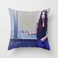jackalope Throw Pillows featuring JACKALOPE by Evan Daigle