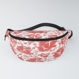 Red Watercolor Ink Splashes Cause Ribbons Fanny Pack