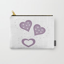 Pretty Lilac Hearts Carry-All Pouch