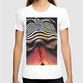 1290s-AK_2753 Striped Nude Vuval Portrait of an Aroused Woman by Chris Maher T-shirt