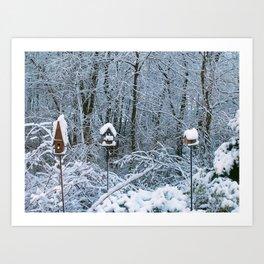 Birdhouses in Winter Art Print