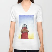lighthouse V-neck T-shirts featuring Lighthouse by Jackie Sullivan