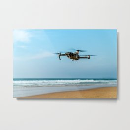 UAV Drone Quadcopter And Digital Camera Flying, Technology, Unmanned Aerial Vehicle, Drone Photo Metal Print