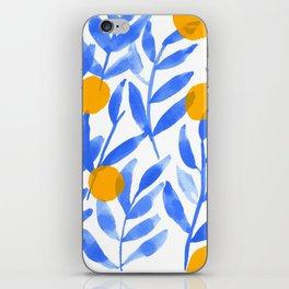 Tropical Lemons / Blue and Yellow Refreshing Lemon Print / Abstract Lemon Vibes / Summer Lemons iPhone Skin