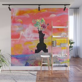 Lady Liberty Floral Collage Wall Mural