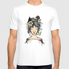 Mother nature MEDIUM White Mens Fitted Tee