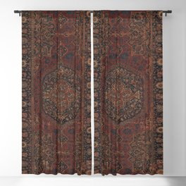 Boho Chic Dark I // 17th Century Colorful Medallion Red Blue Green Brown Ornate Accent Rug Pattern Blackout Curtain