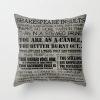 shakespeare Throw Pillows featuring Shakespeare Insults by EntryPlug