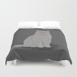 Grey cat egyptian mau cute meme cat funny grey cat breed cat lady gifts must haves for cat person  Duvet Cover