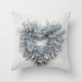Grey Feather Heart Throw Pillow