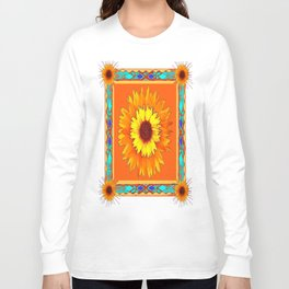 Southwestern Sun Flowers Abstract Design Long Sleeve T-shirt